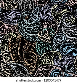 Pattern based on decorative elements Paisley. Seamless vector pattern in retro grunge indian style.