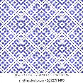 Pattern based on Traditional ethnic Russian and slavic ornament.DISABLING LAYER, you can obtain seamless pattern.The pattern is filled with blue circles.