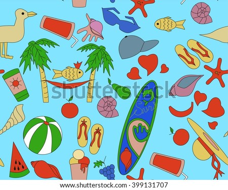 556e10d945921f Pattern Beach Objects Illustration Seamless Surfboard Stock Vector ...