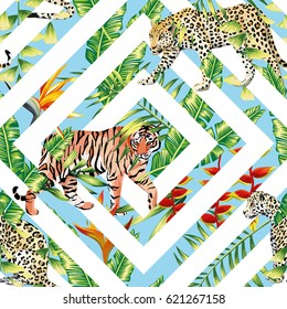 Pattern beach vector animal tiger leopard seamless tropical leaves geometrical background