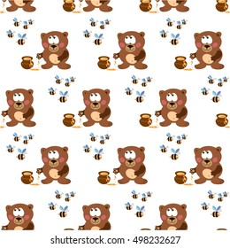 Pattern with the bear, honey and bees.