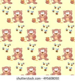 Pattern with the bear from the movie, honey and bees. Vector illustration. Figure children's fabrics, wallpaper