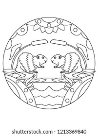 Pattern with beavers. Illustration with a rodent. Mandala with an animal. Beaver in the wild. Coloring page for kids and adults.