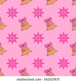 Pattern with a bell and snowflake. Happy New Year and Merry Christmas.