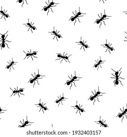pattern black ant print for printing fabric print, wrapping paper, spring print, art line, black and whitebackground and texture