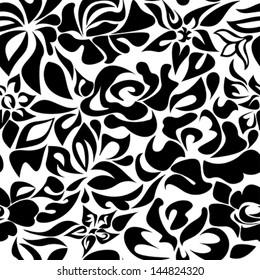 Pattern black flowers