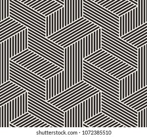 Pattern with black parallel lines on light background. Stylish 3d monochrome geometric texture to use as a tiles or rapport for abstract seamless background.
