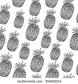 pattern with black pineapples on the white background
