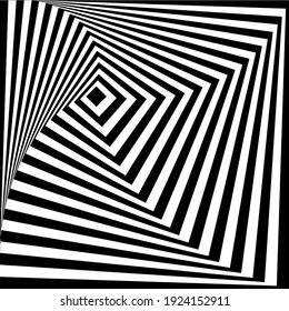 pattern of black and white lines. Optical illusion. Vector illustration. As background, pictures, wallpapers