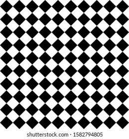 Pattern of black and white rhombuses. Diagonal checkered background. Diagonal Chess pattern. Argyle plaid. Seamless fabric texture. Vector illustration