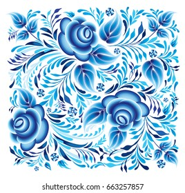 Pattern with blue flowers on a white background. Russian gzhel ornament.  Pattern in the style of Gzhel