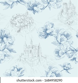 Pattern with blue peony flowers  around of old landscape with grey castles in toile de jouy style on li baclgroundght blue