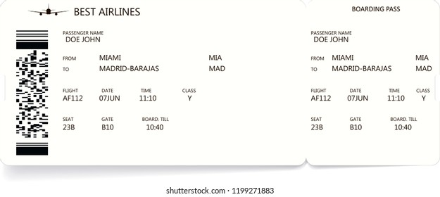 Pattern of a boarding pass and air ticket with barcode. Realistic ticket concept for travel by airplane. Variant of paper boarding pass