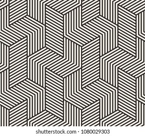 Pattern with bold lines and geometric shapes forming stylish ornamental backdrop. Abstract Seamless linear texture. Geometric background.