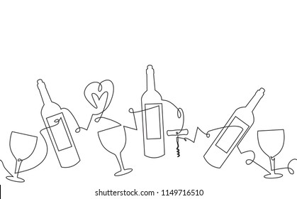 Pattern with Bottles, Glasses and corkscrew. Abstract Wine background. Can be yused like banner, backdrop, poster, logo, template in your design works.  Continuous line drawing. Vector illustration.
