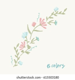 Pattern branch with wildflowers embroidery design for clothing. Nature flowers embroidery patch vector decoration.