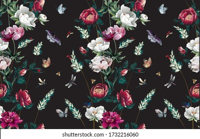 Pattern with bright different peony flowers in floral stripe with grass and leaves and bottoms and insects -ladybugs,bees, butterflies, dragonflies on black background