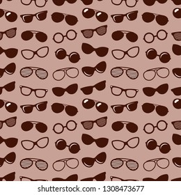 Pattern with brown sunglasses