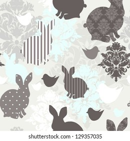 Pattern with bunnies and rocking horses Seamless easter background