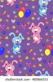 Pattern with a bunny-girl and  bunny-boy , air balloons , carrots , hearts, 