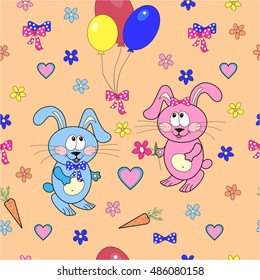 Pattern with a bunny-girl and  bunny-boy , air balloons , carrots , hearts, ribbons and flowers.Vector.