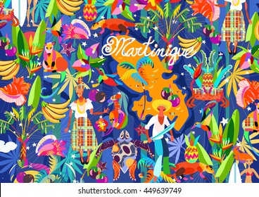 Pattern Caribbean island tropical flowers,leaves and bird hand drawn.Sea shell and palm,exotic fruits, humming-bird, crab.