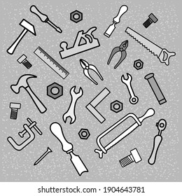 A pattern from a carpenters tool kit. Vector illustration.