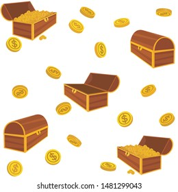 Pattern of cartoon closed and opened brown wooden pirate chests with golden coins. Vector illustration.