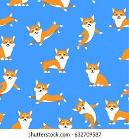 Pattern cartoon dogs breed Corgi in a flat style on blue background