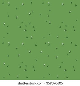Pattern with cartoon grass. Hand drawn background. Cute vector texture.
