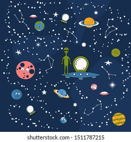 pattern cartoon smiley planets spaceships 260nw 1511787215