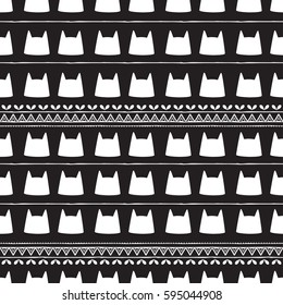 Pattern with Cat cute. Frame of animal made in vector. Use for children clothes, pajamas