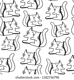 Pattern with cat. Isolated background for textile, fabric, clothes, web, kids, wrapping paper, stationery, wallpaper.