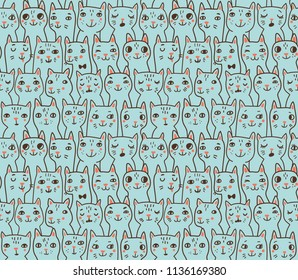 Pattern with cats' heads