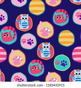 Pattern with cats in peas. Background for textiles, fabrics, web, clothes, blanks, wrapping paper, children, jackets, clothes, backpacks, notebook, bedding.
