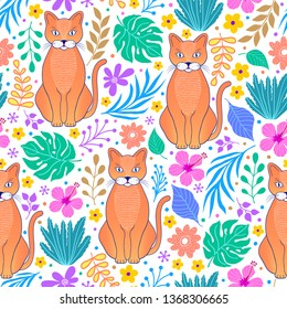 Pattern with cats and tropical flowers and leaves on white background