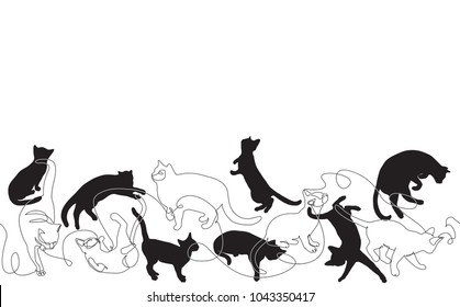 Pattern with cats.  Vector Background with kittens in diferent poses.
