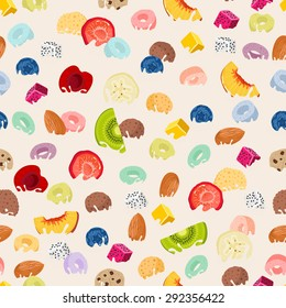 Pattern with cereals and fruits dipped in milk with splashes