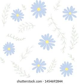 Pattern chamomile. Blue Flowers. Green Leaf. Floral. Background. Vector illustration