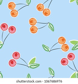 Pattern with cherries. Cherry pattern for tissue and paper. A bright summer pattern with cherries.