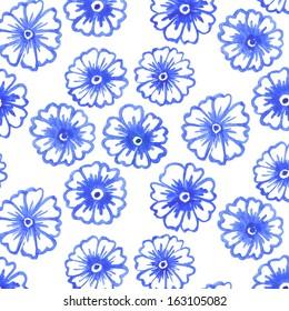 """Pattern """"cherry blossom"""" Asia traditional ceramics. Cobalt blue."""