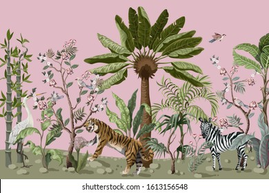 Pattern in chinoiserie style with tiger, heron and jungle trees.