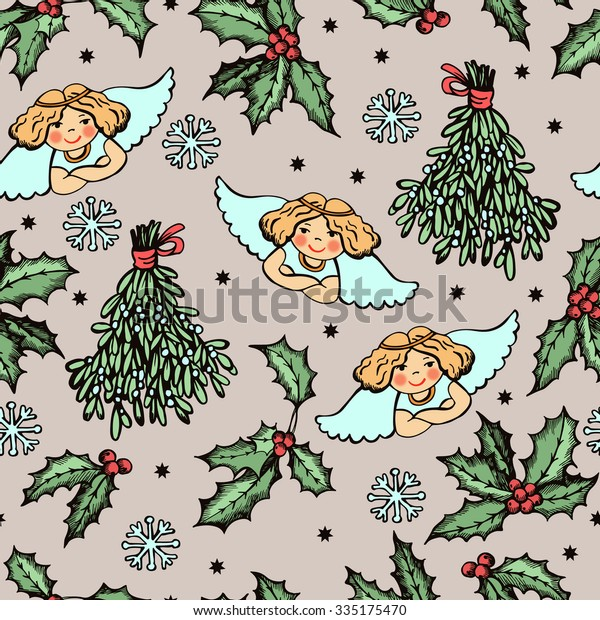 Pattern Christmas Angels Symbolic Plants Hand Stock Vector