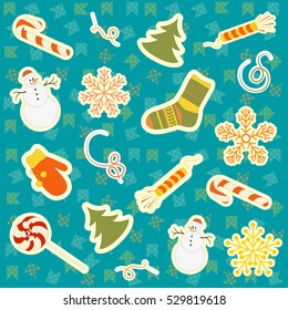 pattern of Christmas symbols on background of festive flags