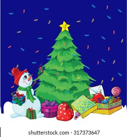 pattern with Christmas tree and a snowman on a blue background. vector