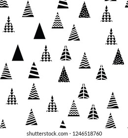 Pattern Christmas trees triangular shape on white background. Different design trees for decoration New Year or Christmas pattern