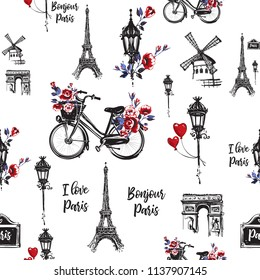 Pattern with city bike with flower basket, good morning Paris text, street lantern, heart balloon, architecture. Hand drawn illustration with French symbols. Vector watercolor style seamless backdrop.