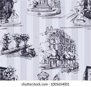 Pattern with city streets with houses, cars,scooters and trees in violet color with stripes on the background in toile de jouy stile