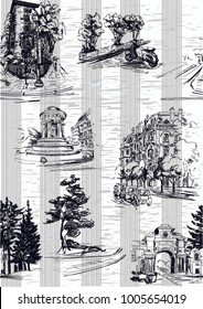 Pattern with city streets with houses, cars,scooters and trees in grey color with stripe and textile texture on the background in toile de jouy stile