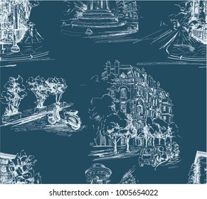 Pattern with city streets with houses, cars,scooters and trees in blue and white color in toile de jouy stile